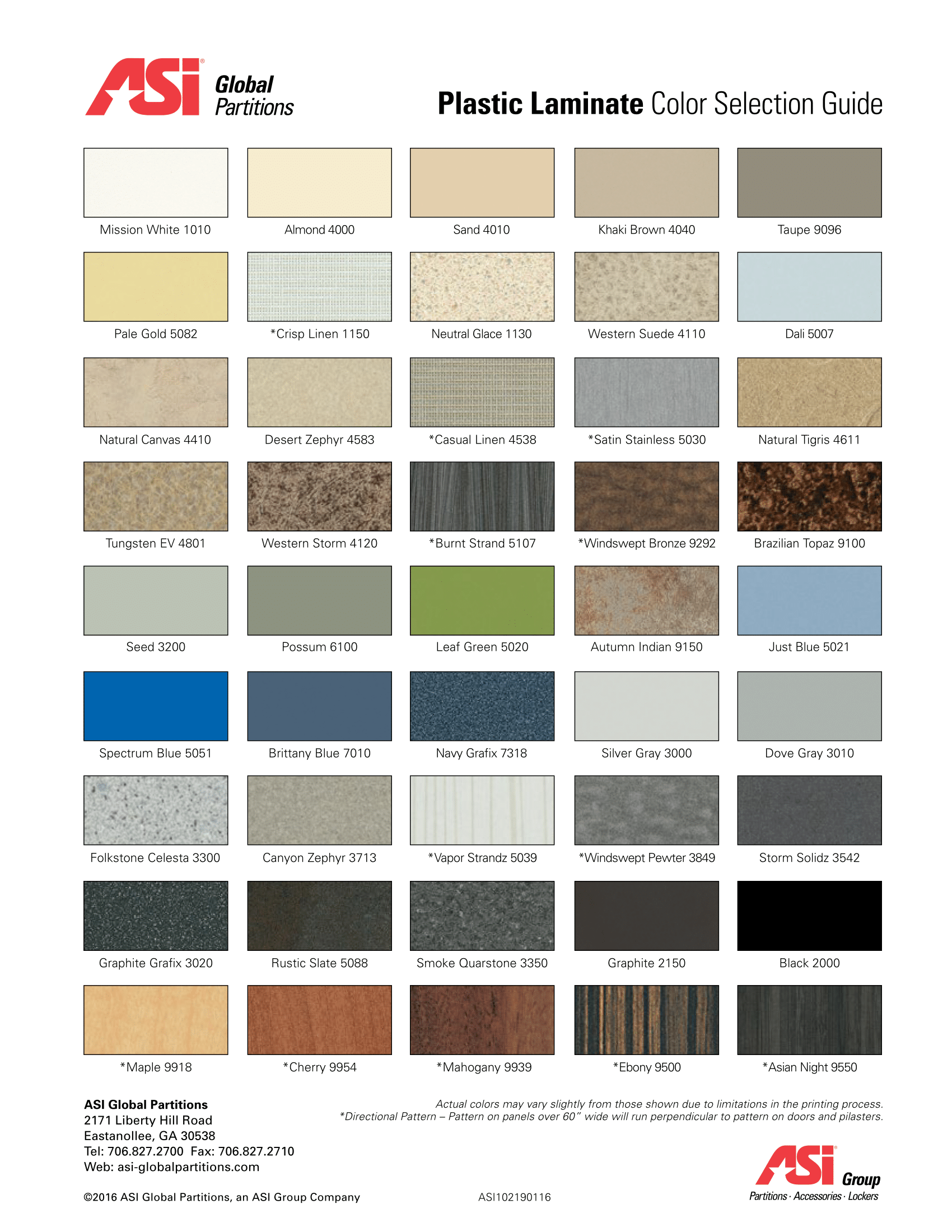 Asi plastic laminate color selection guide asi global for Asi construction documents