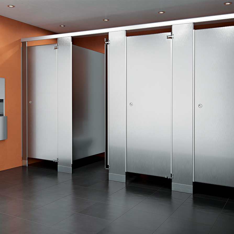 Stainless steel asi global partitions for Stainless steel bathroom partitions